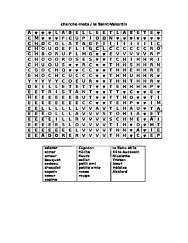 Valentine Word Search FRENCH