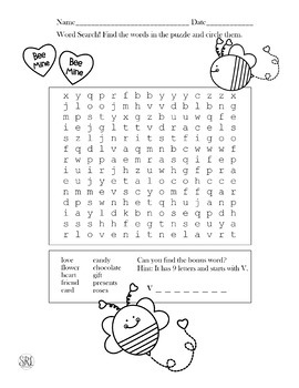 Word Search Valentine's Day Busy Work