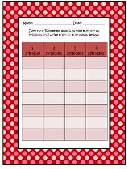 Valentine Word Study Activities