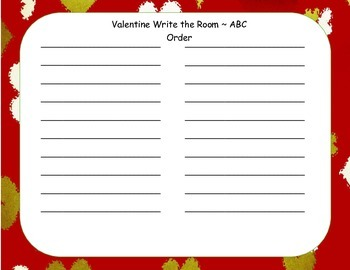 Valentine Word Wall and Write the Room