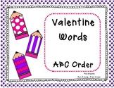 Valentine Words  ABC Order