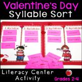 Valentine Words Syllable Sort Literacy Center