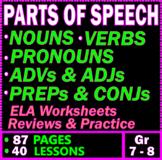 Parts of Speech Grammar Bundle. Review & Worksheets. 40 Lessons. Gr 7 - 8