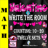 Valentine Write the Room:  Counting 10 - 20  Twelve Sets