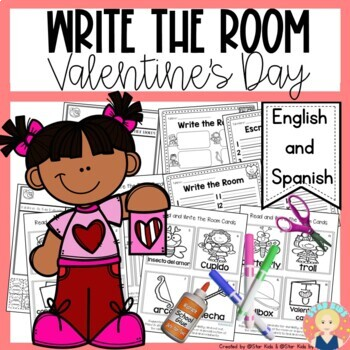 Valentine Write the Room in English and Spanish for K-1