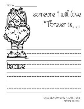 Valentine Writing--Common Core--K-1-2