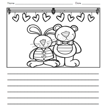 Valentine Writing Journal with Word Wall Cards