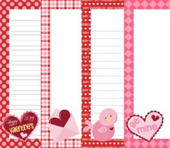 Valentine Writing Papers - 3 Styles (7 1/2 x 10)