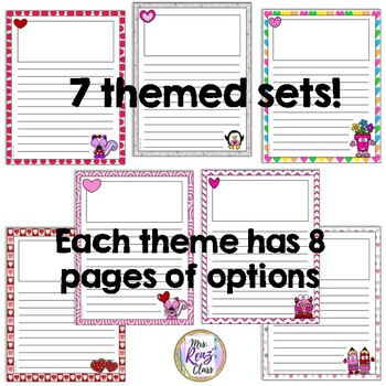 Valentine Writing Papers - 112 Pages of Primary & Intermediate Choices  7 Themes