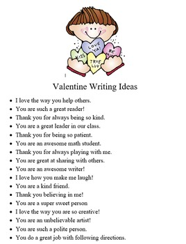 Valentine Writing Project for students