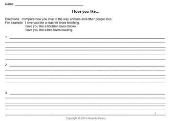 Valentine Writing Prompts