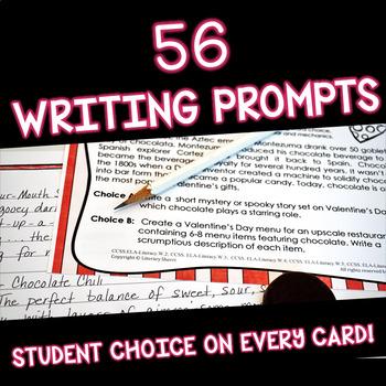 Valentine Writing Prompts: Task Cards (Grades 7, 8, 9)