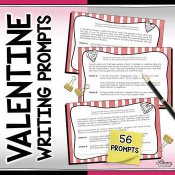VALENTINE WRITING PROMPTS Task Cards (for Secondary Students)