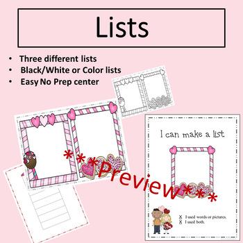 Valentine Writing Station for Kindergarten