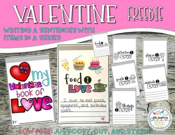 Valentine- Writing a sentence with items in a series - Freebie