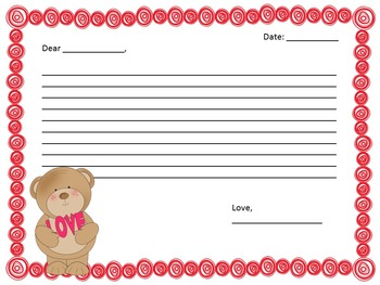 Valentine Writing and Math Grades 3-5