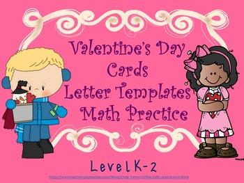 Valentine Writing and Math Grades K-2