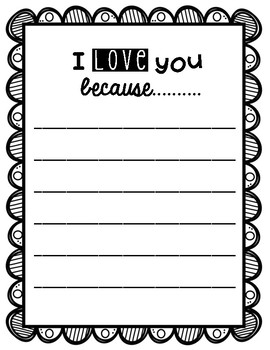 Valentine Writing  {I love you because....}