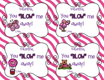 Valentine You Blow Me Away - Valentine Cards for Blow Pops or Bubbles