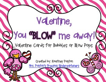 Valentine You Blow Me Away - Valentine Cards for Blow Pops