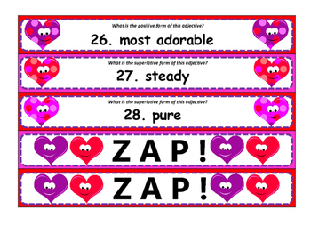Valentine ZAP! Degrees of Adjectives