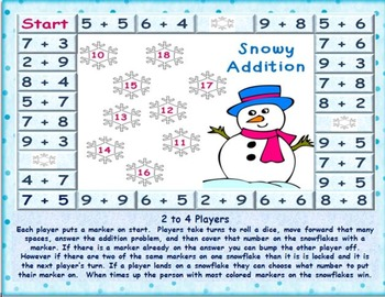 Valentine and Snowy Addition Board Games