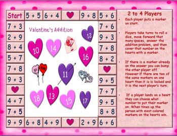 Valentine and Snowy Addition Math Board Games
