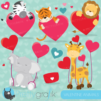 Valentine animals clipart  commercial use, vector graphics,  - CL630