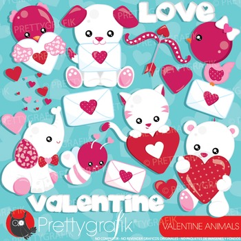 Valentine animals clipart commercial use, vector graphics, digital - CL939