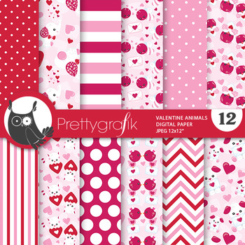 Valentine animals papers, commercial use, scrapbook papers, - PS776