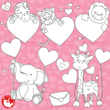 Valentine animals stamps commercial use, vector graphics, images  - DS630