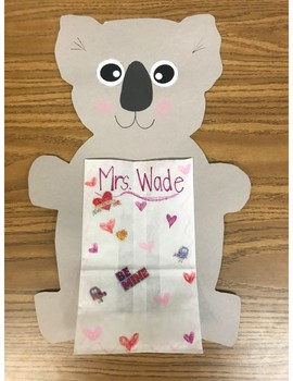 Valentine bag/craft- Koala bear
