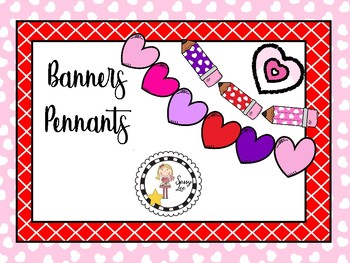 Valentine banners, pennants and hearts bundle