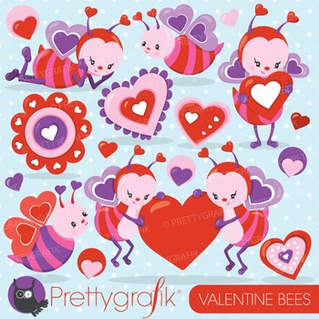 Valentine bees clipart commercial use, vector, digital - CL796
