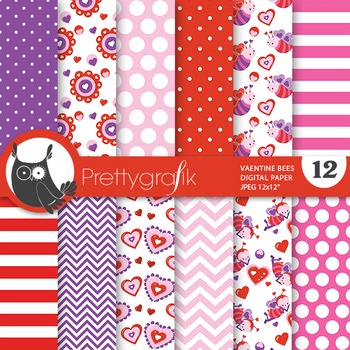 Valentine bees digital paper, commercial use, scrapbook papers - PS689
