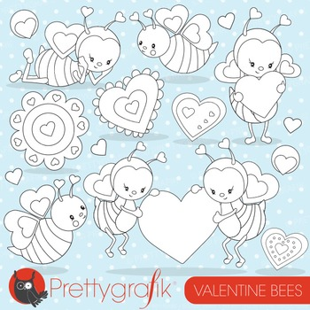 Valentine bees stamps commercial use, vector graphics, images - DS796