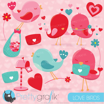 Valentine birds clipart commercial use, valentine vector graphics, CL628