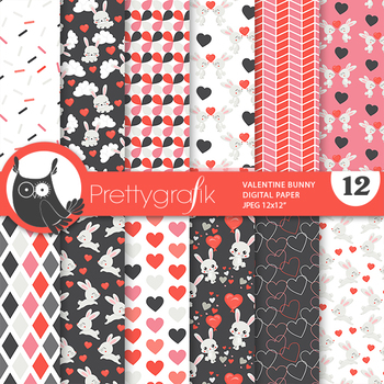 Valentine bunny rabbit papers, commercial use, scrapbook papers - PS978