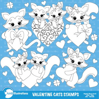 Clipart Stamps, Valentine cats,Valentine kittens Outlines Black lines, AMB-344