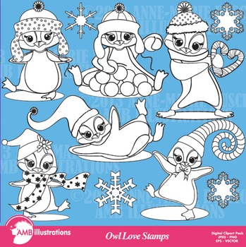 Clipart Stamps Winter Baby Penguins digital outlines and s