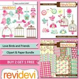 Valentine clip art / Love birds and friends bundle (3 packs)