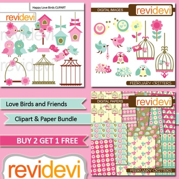 Valentine clip art / Love birds and friends bundle (3 packs)