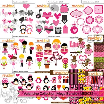 Valentine clip art - Valentine collection clipart mega bundle (9 packs)