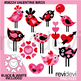 Valentine clip art bundle / valentine full heart clipart / kids, owls, birds