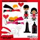 Valentine clip art bundle / valentine full heart clipart / kids, owls, birds