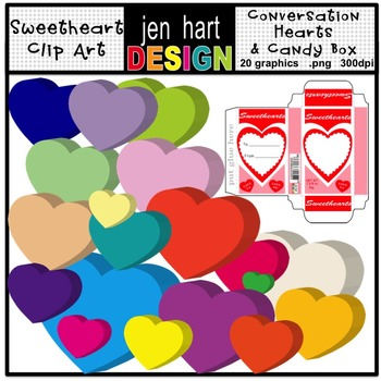 Candy Hearts Clip Art {Conversation Hearts & Candy Box}