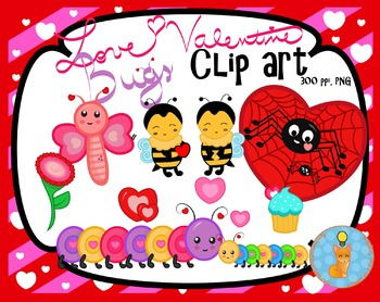 Valentine clip art love bugs (Blacklines included)