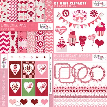 Valentine clip arts, lace frames and cards