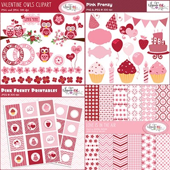 Valentine clip arts, printables and digital papers bundle