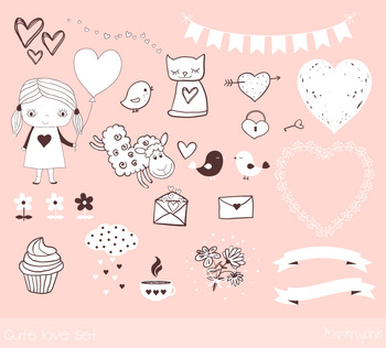 Valentine clipart, Cute love clip art set, girl, cupcake, heart, sheep, banner